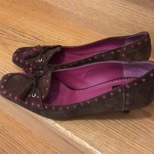 Coach brown and burgundy suede shoes size 7B